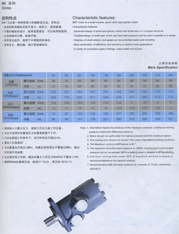 BM1摆线液压马达主要性能参数